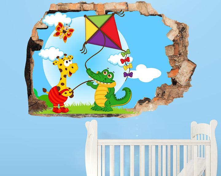 Animal Friends Kite Nursery Decal Vinyl Wall Sticker Q677