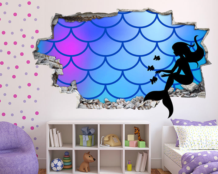Mermaid Tail Girls Bedroom Decal Vinyl Wall Sticker Q698