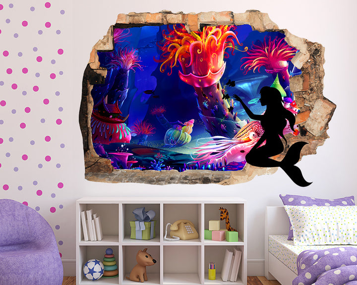 Mermaid Kingdom Girls Bedroom Decal Vinyl Wall Sticker Q718