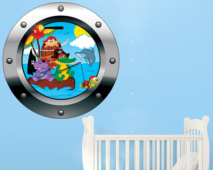 Pirate Animals Nursery Decal Vinyl Wall Sticker Q738
