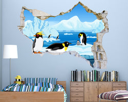 Cartoon Penguin Ice Boys Bedroom Decal Vinyl Wall Sticker Q741