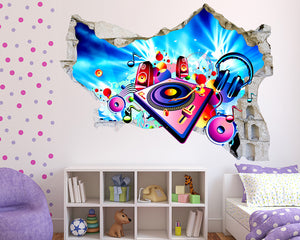 Cartoon Music Equipment Girls Bedroom Decal Vinyl Wall Sticker Q748