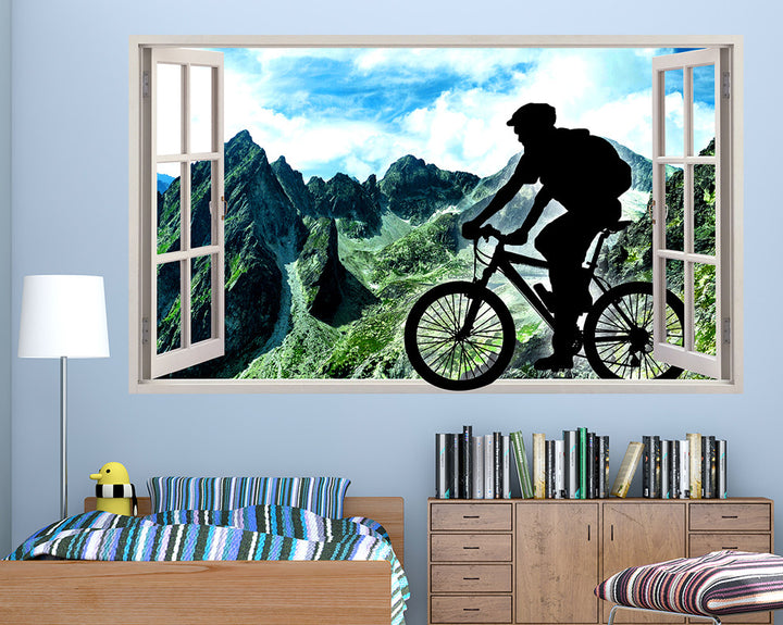 Silhouette Mountain Biking Boys Bedroom Decal Vinyl Wall Sticker Q759