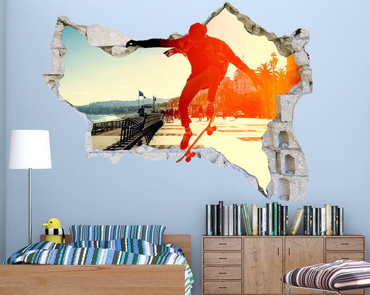 Skateboarding Trick Boys Bedroom Decal Vinyl Wall Sticker Q763