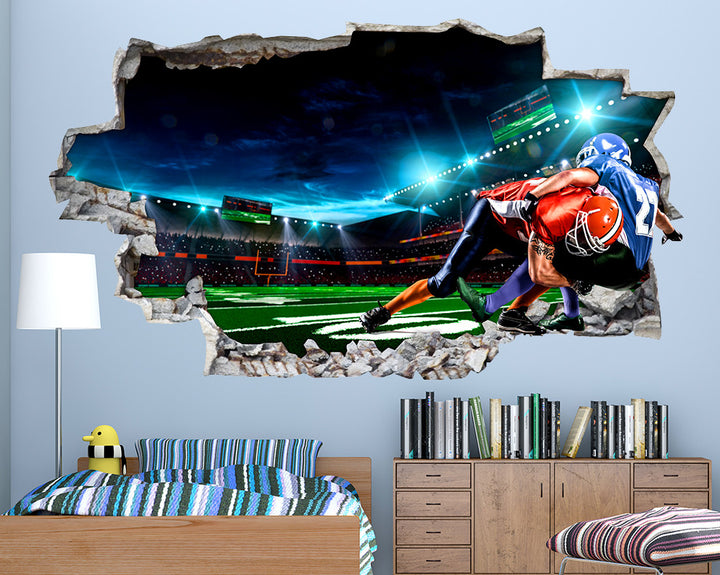 American Football Tackle Boys Bedroom Decal Vinyl Wall Sticker Q767