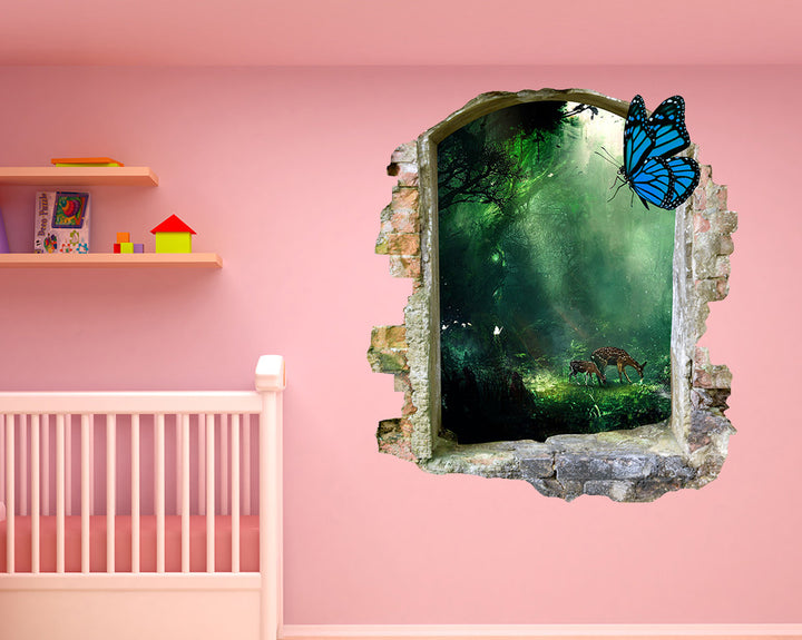 Forest Nature Butterfly Nursery Decal Vinyl Wall Sticker Q776