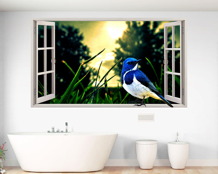 Blue Bird Windowsill Bathroom Decal Vinyl Wall Sticker Q777