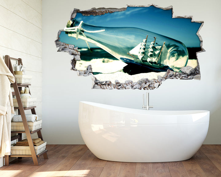 Boat In A Bottle Bathroom Decal Vinyl Wall Sticker Q791