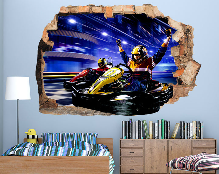 Go Kart Fun Boys Bedroom Decal Vinyl Wall Sticker Q798