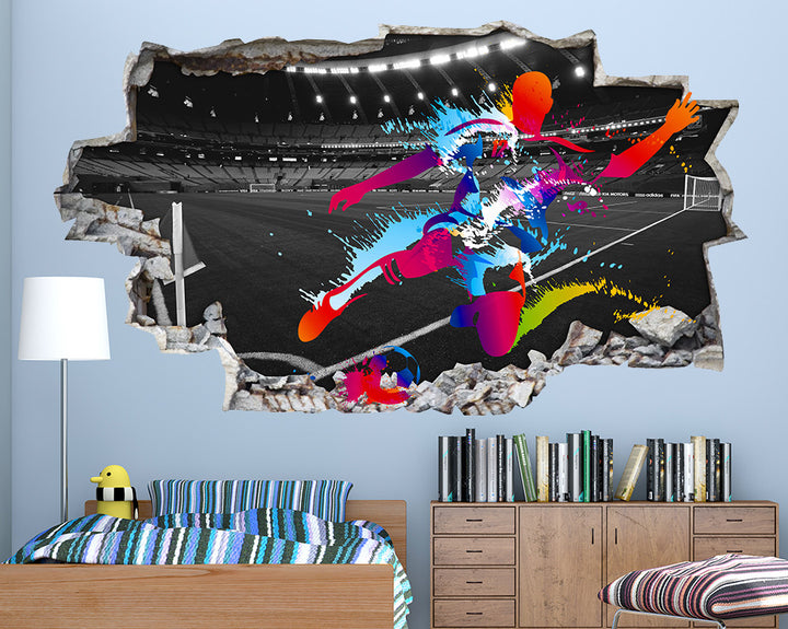 Football Player Colour Splash Boys Bedroom Decal Vinyl Wall Sticker Q808