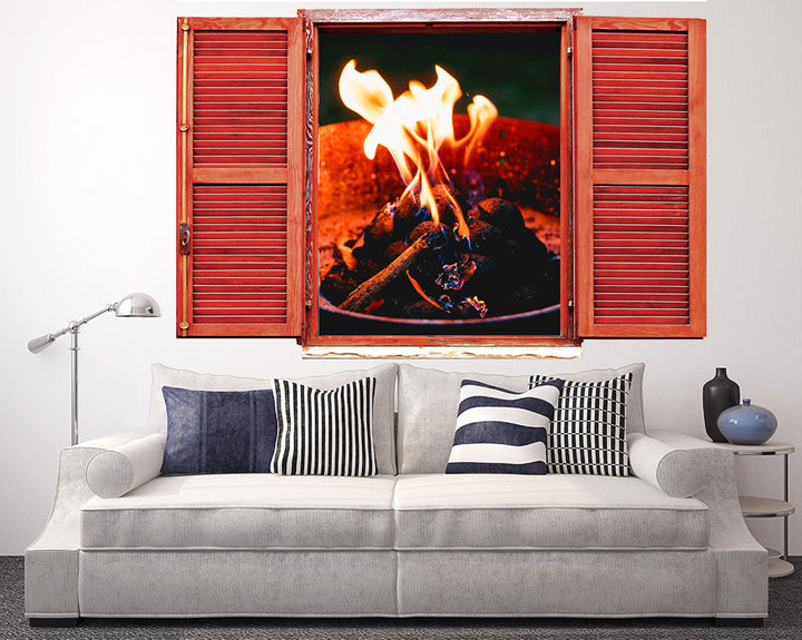 Camp Fire Flames Living Room Decal Vinyl Wall Sticker Q811