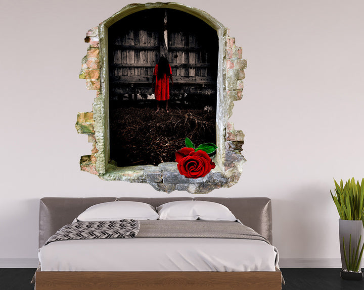 Red Rose Girl Bedroom Decal Vinyl Wall Sticker Q876