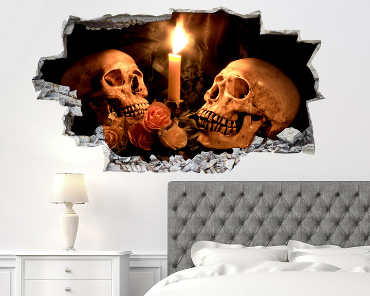 Skull Roses Candle Bedroom Decal Vinyl Wall Sticker Q890