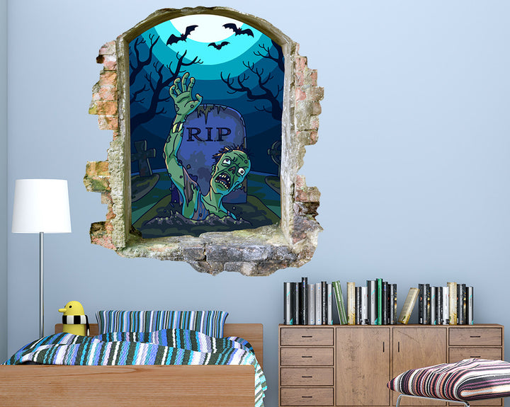 Zombie Night Graveyard Boys Bedroom Decal Vinyl Wall Sticker Q911