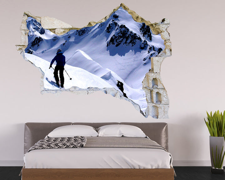 Skiing Sport Snow Bedroom Decal Vinyl Wall Sticker Q955