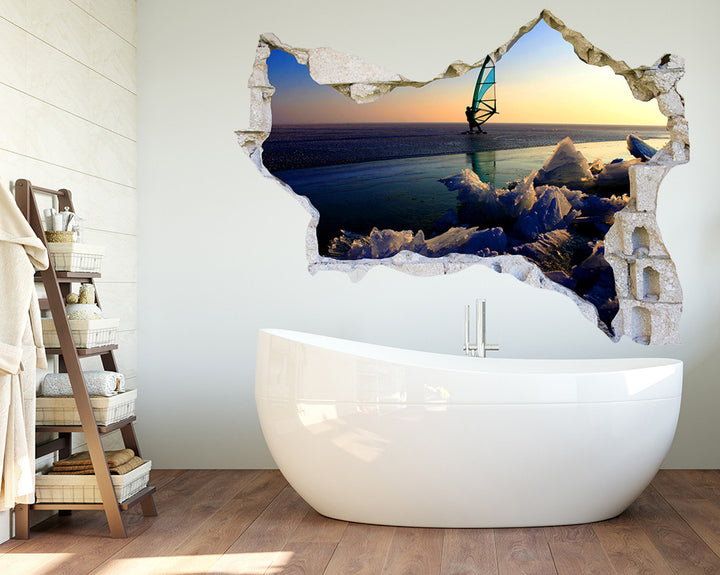 Glacier Surf Sea Bathroom Decal Vinyl Wall Sticker Q965