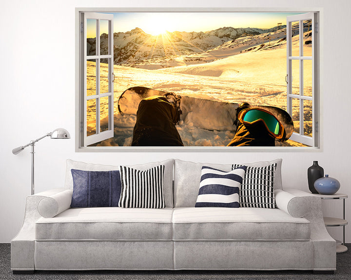 Sunny Snowboarding Living Room Decal Vinyl Wall Sticker Q972