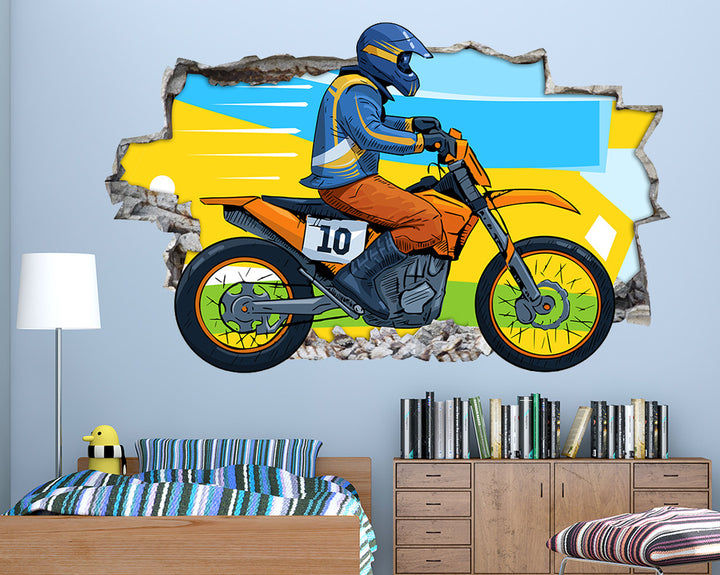 Cartoon Scrambler Race Boys Bedroom Decal Vinyl Wall Sticker Q983