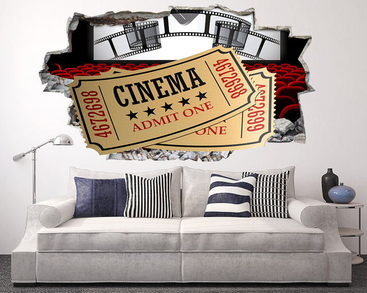 Cinema Ticket Screen Living Room Decal Vinyl Wall Sticker Q999