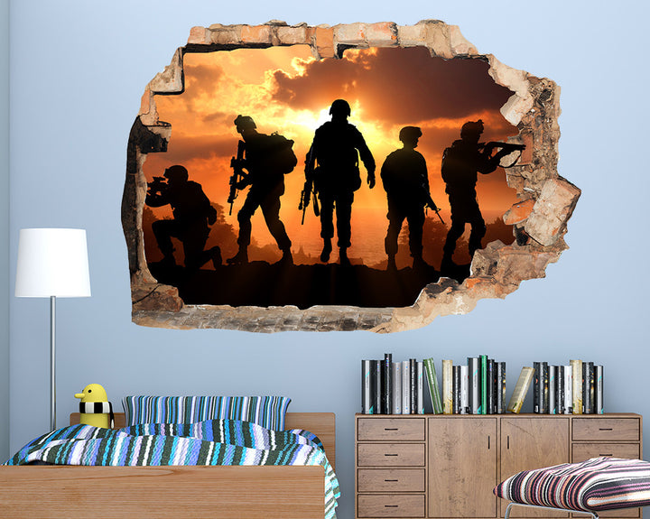 Army Soldier Sunset Boys Bedroom Decal Vinyl Wall Sticker R021