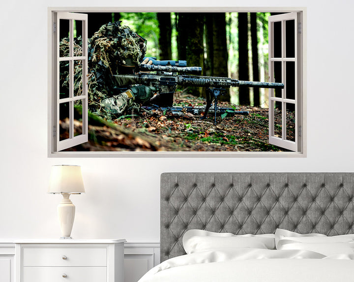 Camouflage Rifle Army Bedroom Decal Vinyl Wall Sticker R064