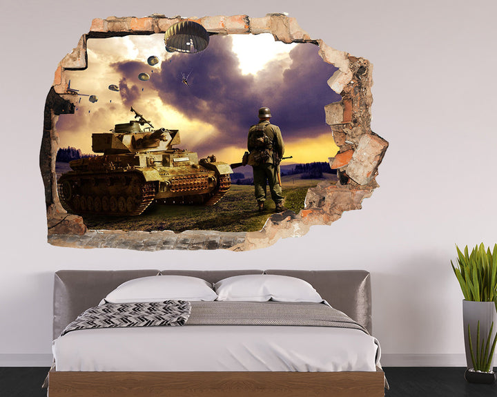 War Parachute Soldier Bedroom Decal Vinyl Wall Sticker R072