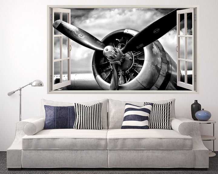 Airplane Propeller Living Room Decal Vinyl Wall Sticker R077