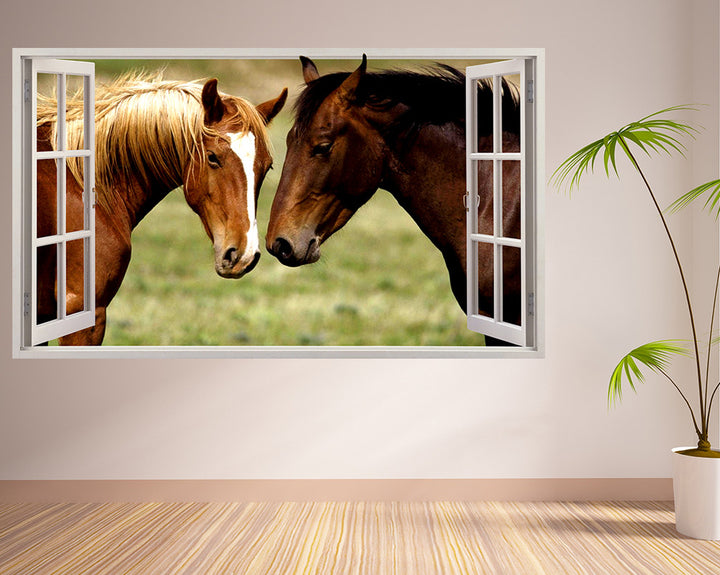 Cute Horses Love Hall Decal Vinyl Wall Sticker R099