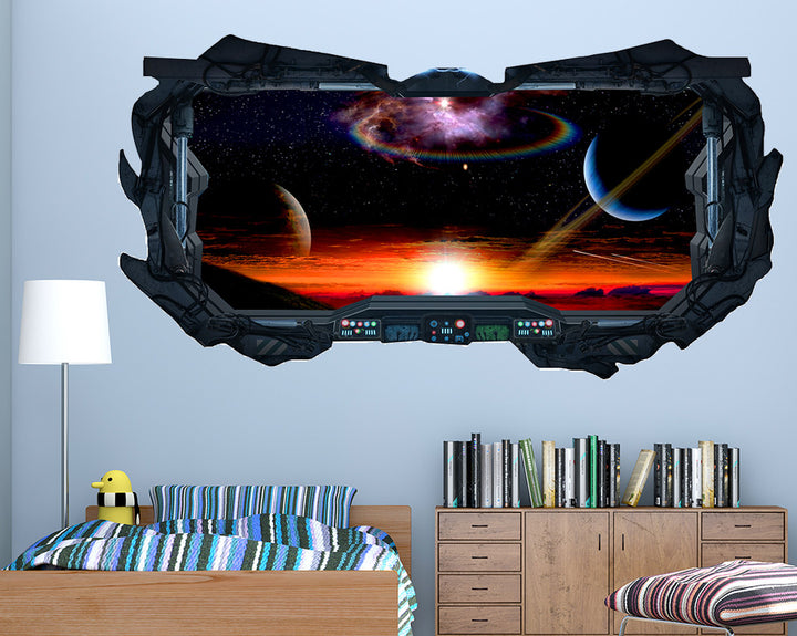 Sunset Space Boys Bedroom Decal Vinyl Wall Sticker R112