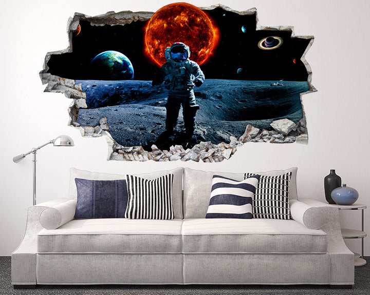 Fire Planet Astronaut Living Room Decal Vinyl Wall Sticker R118