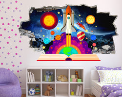 Cartoon Rocket Book Girls Bedroom Decal Vinyl Wall Sticker R121