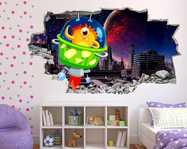 Green Cartoon Space Rocket Girls Bedroom Decal Vinyl Wall Sticker R131