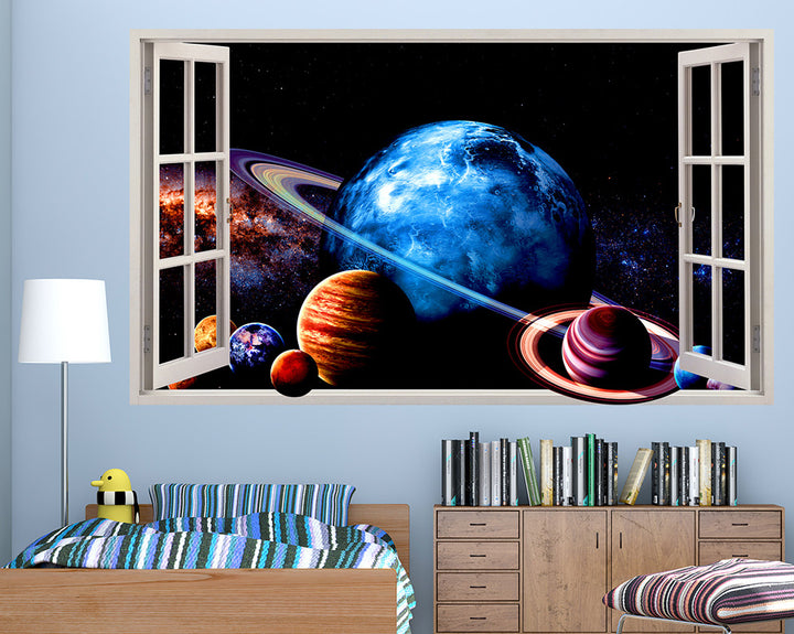 Colourful Planets Space Boys Bedroom Decal Vinyl Wall Sticker R137