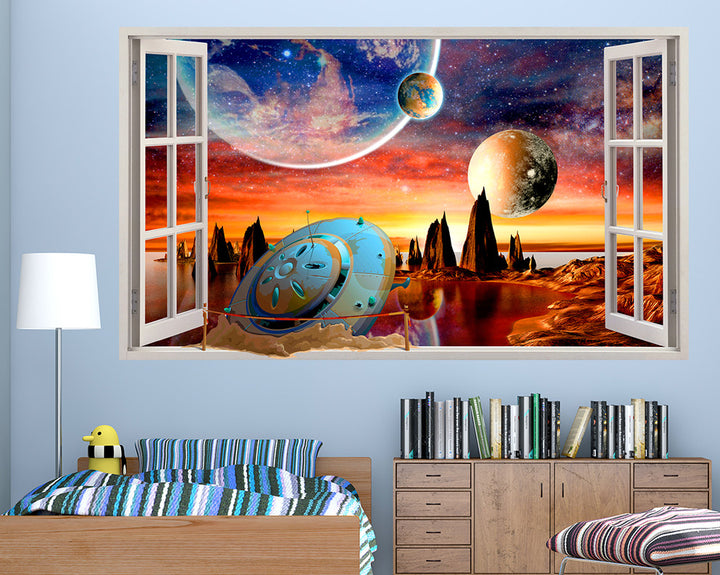Flying Saucer Crash Boys Bedroom Decal Vinyl Wall Sticker R141