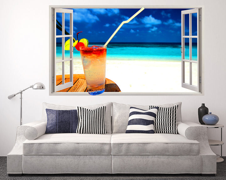 Cocktail Beach Relax Living Room Decal Vinyl Wall Sticker R151