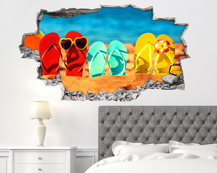 Colourful Flip Flops Bedroom Decal Vinyl Wall Sticker R158