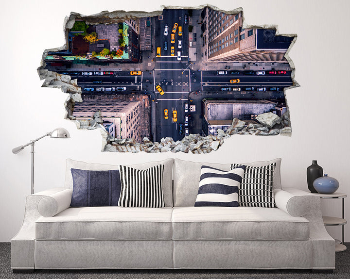 City Street View Taxi Living Room Decal Vinyl Wall Sticker R160