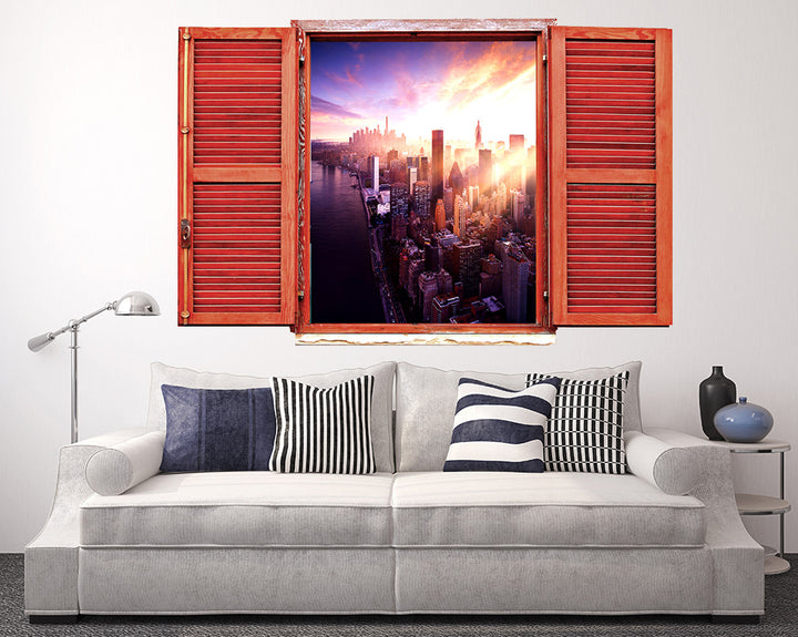 City Sunset Sky Living Room Decal Vinyl Wall Sticker R161