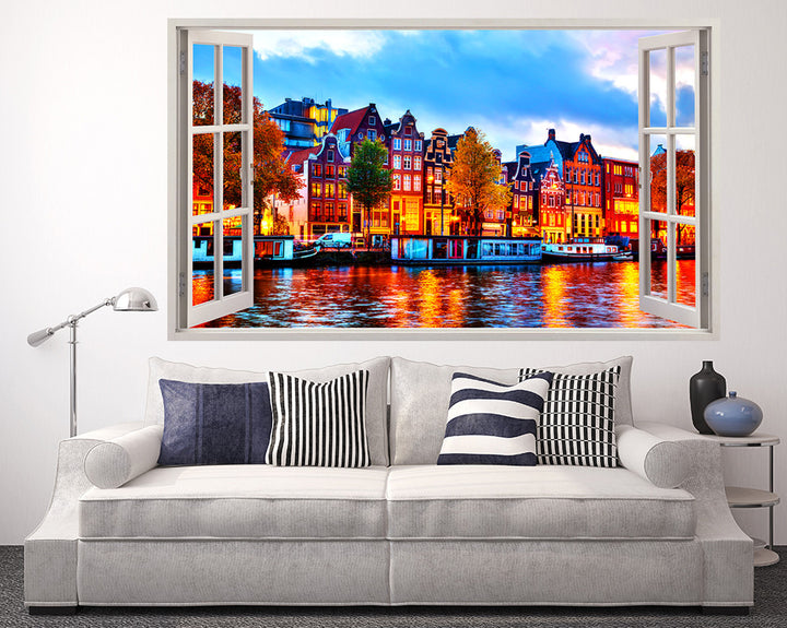 Colourful River Canal Living Room Decal Vinyl Wall Sticker R170
