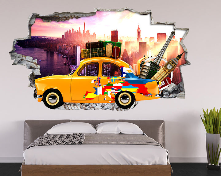 Sightseeing Taxi Bedroom Decal Vinyl Wall Sticker R173