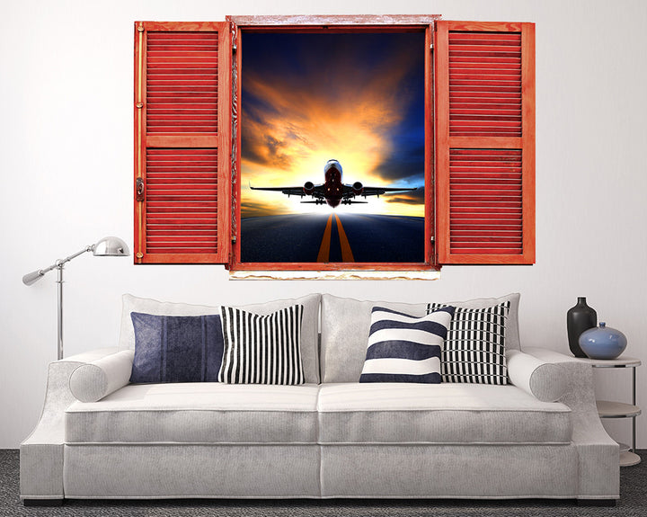 Runway Airplane Sunrise Living Room Decal Vinyl Wall Sticker R182