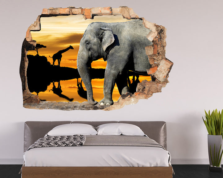 Elephant Safari Sunset Bedroom Decal Vinyl Wall Sticker R186