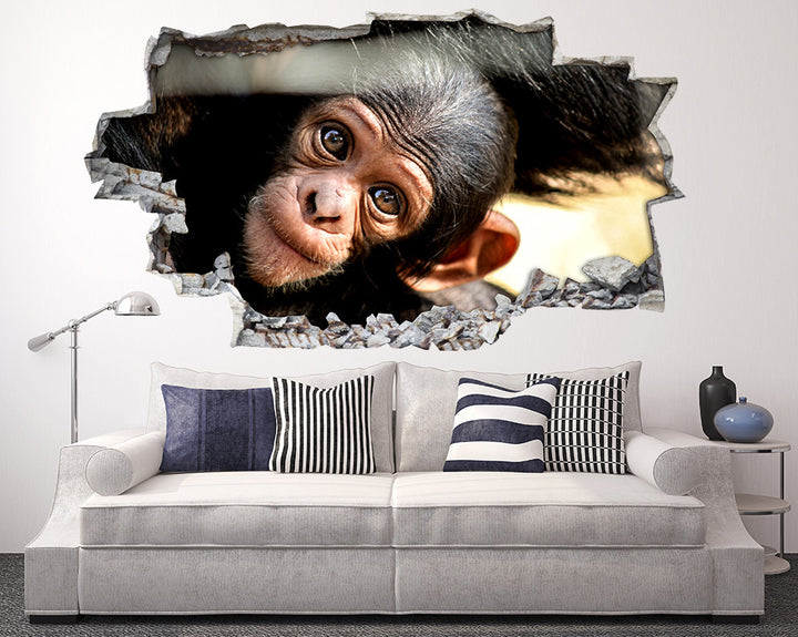 Cute Baby Monkey Living Room Decal Vinyl Wall Sticker R194