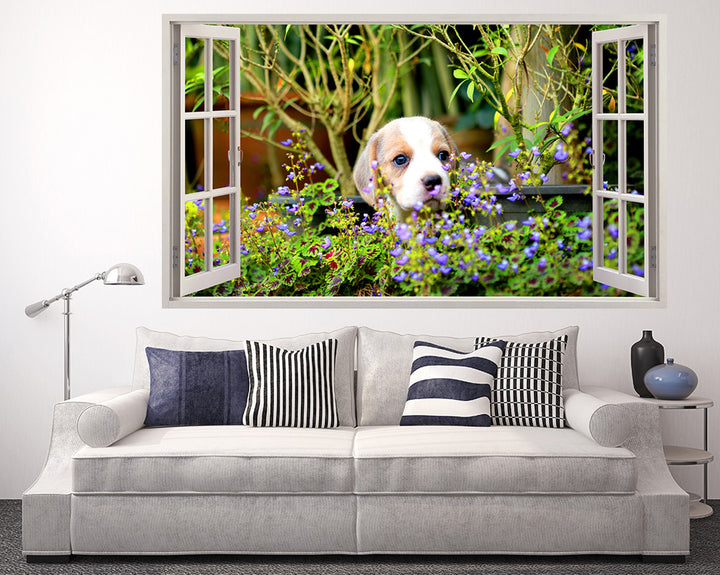 Puppy Flower Garden Living Room Decal Vinyl Wall Sticker R210