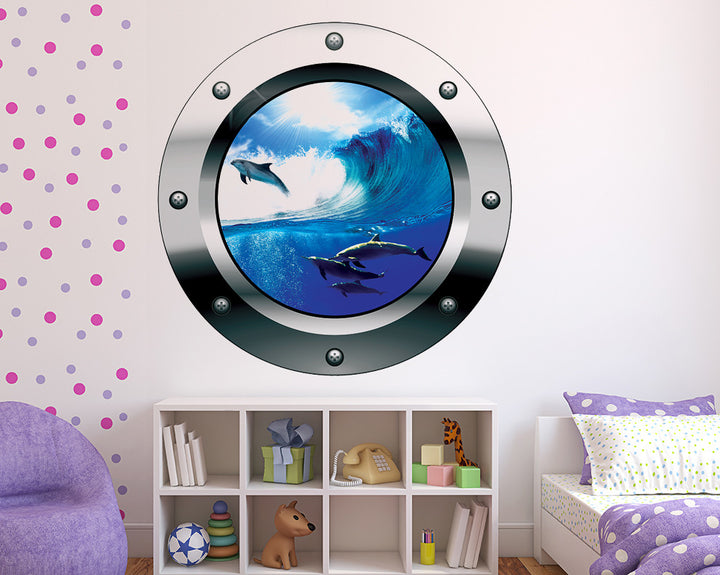 Blue Sea Dolphins Girls Bedroom Decal Vinyl Wall Sticker R222