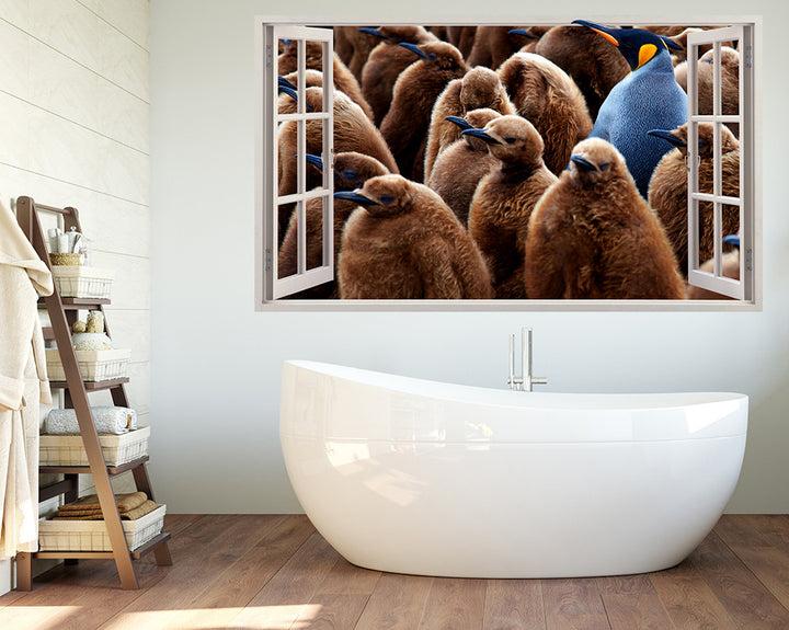 Cool Brown Penguins Bathroom Decal Vinyl Wall Sticker R223