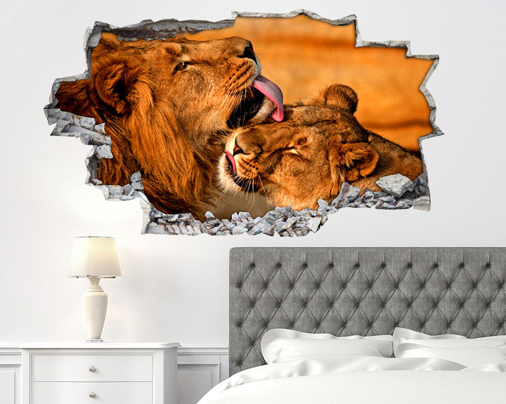 Lion Couple Kiss Bedroom Decal Vinyl Wall Sticker R227