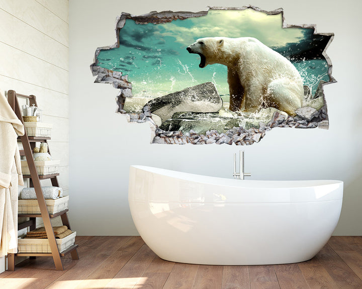 Cool Polar Bear Splash Bathroom Decal Vinyl Wall Sticker R228
