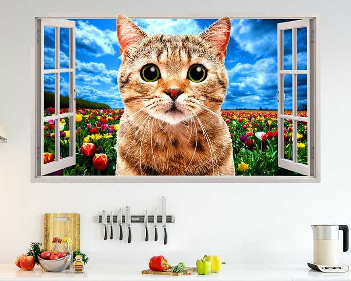 Tulip Flowers Cat Kitchen Decal Vinyl Wall Sticker R230