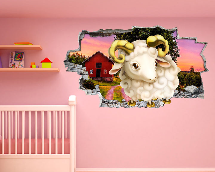 Cute Baby Sheep Farm Nursery Decal Vinyl Wall Sticker R240
